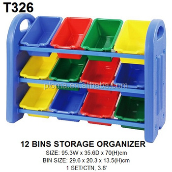 Charmant 3 Tier Plastic Toy Storage Organizer With 12 Storage Bins