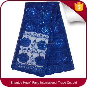 Royal Blue Bridal Wedding Dress Mesh Beaded Lace Fabric Fashion African Fabric HY0558