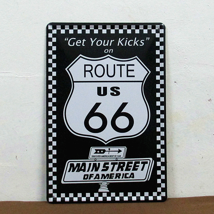 RUSTIC ROUTE 66 VINTAGE Tin Sign-Get your Kicks Tin wall plaque E-22 20*30 CM Christmas gift