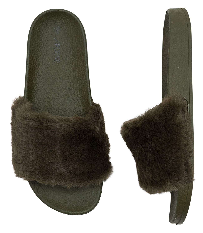 3c7b8a725e3d Get Quotations · Ardene Women s - Slides - Fur Slides 10 -(8A-FW01190)