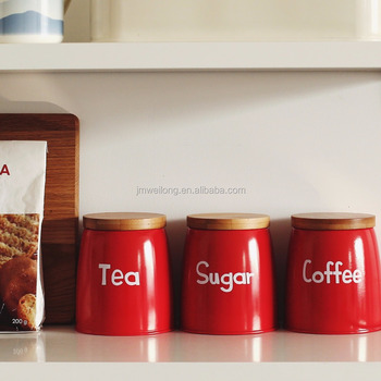 Coffee Tea Sugar Canister Kitchen Tin