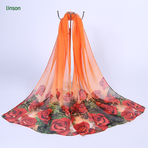 2017 New Style Printed Chiffon Long Scarves Of 160*50cm