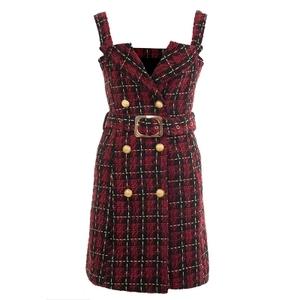 7c167f453df Red short straps tube top waist dress 2019 autumn and winter new wool plaid  fashion Slim