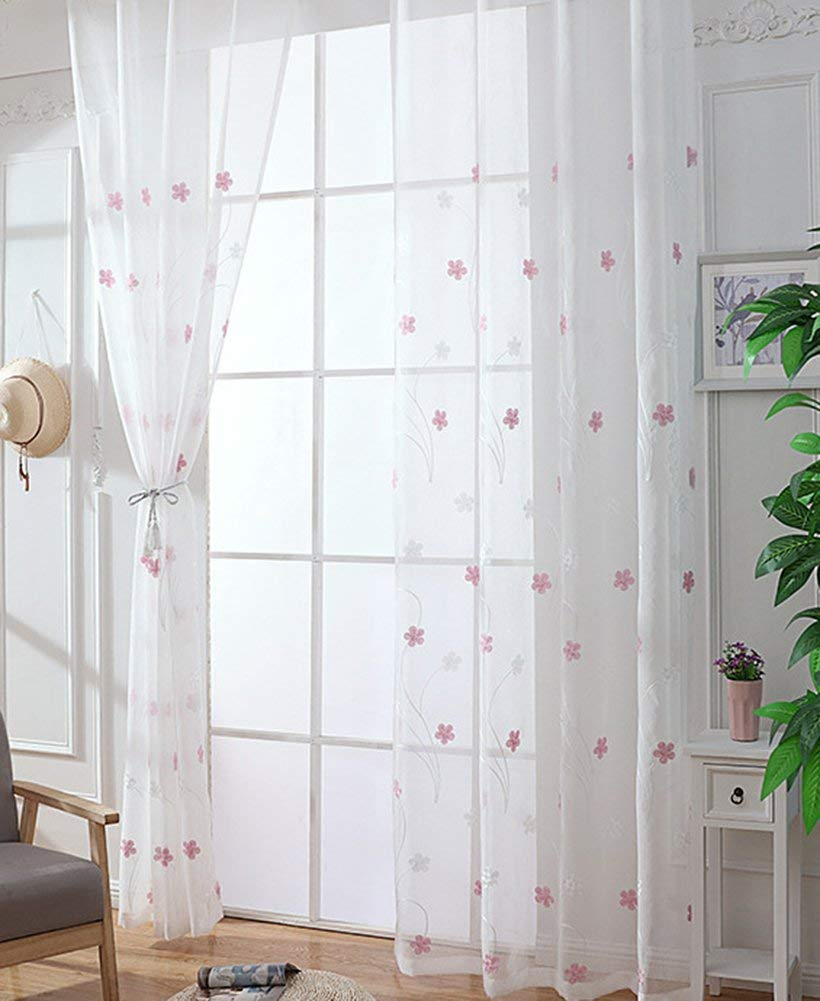 Sheer Curtains Floral Embroidered Curtains For Bedroom 63 Inches Length Red Rose Home Garden Garden Curtains