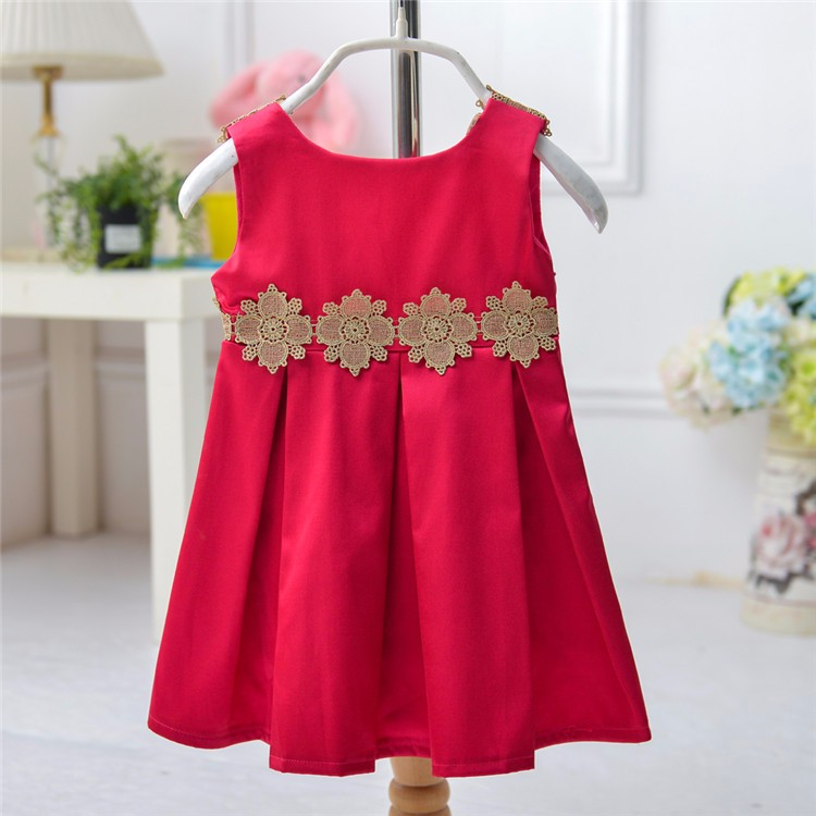 Chinese Golden Flower Red Hand Embroidery Designs For Baby Dresses