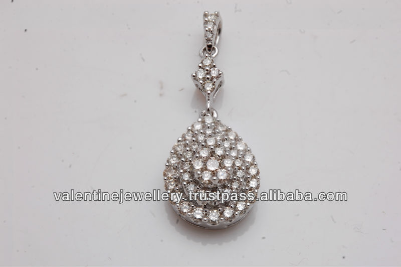 three layer diamond pear shaped pendant, white diamond gold jewelry, wholesale diamond jewelry from india at reasonable prices