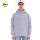 Classic man grey ribbed cut pullover light colored hoodies with Kangaroo pocket