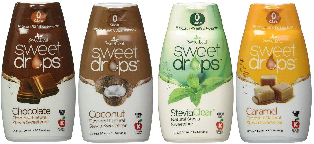 SweetLeaf Sweet Drops Flavored Stevia Sweetener 4 Flavor Variety Bundle, 1 Ea: Chocolate, Caramel, Coconut, Clear (4 Variety Coffee Bundle)