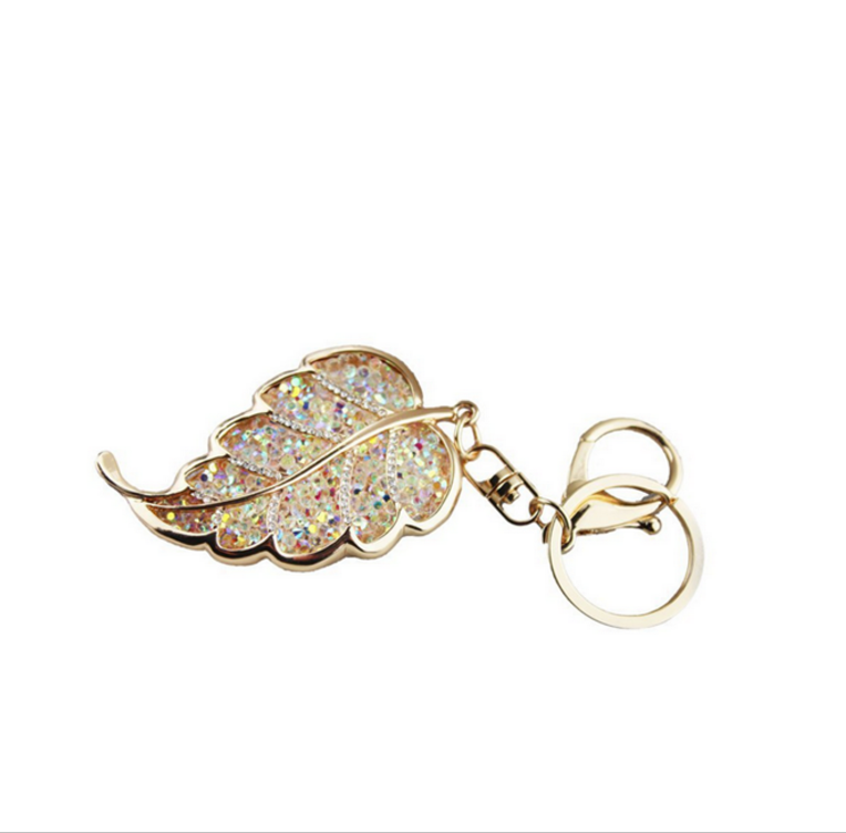 Custom creative Design Cute Shiny Metal Gold Leaf Keychain
