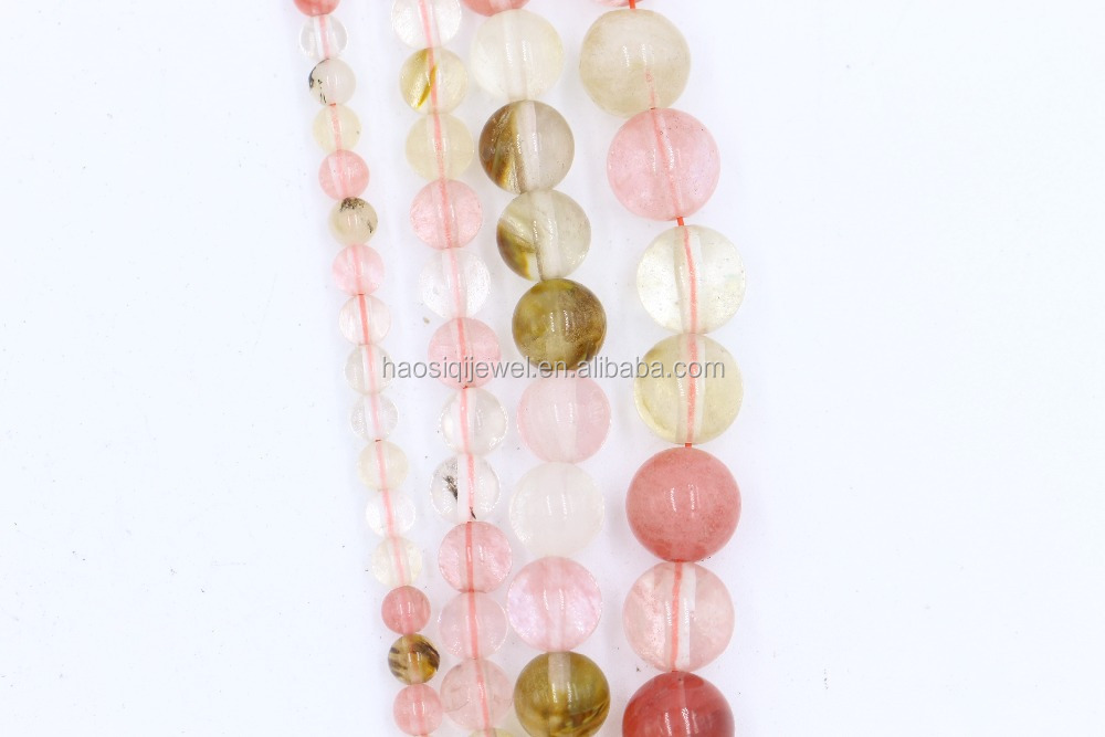 Round stone beads watermelon tourmaline jewelry making beads for wholesale