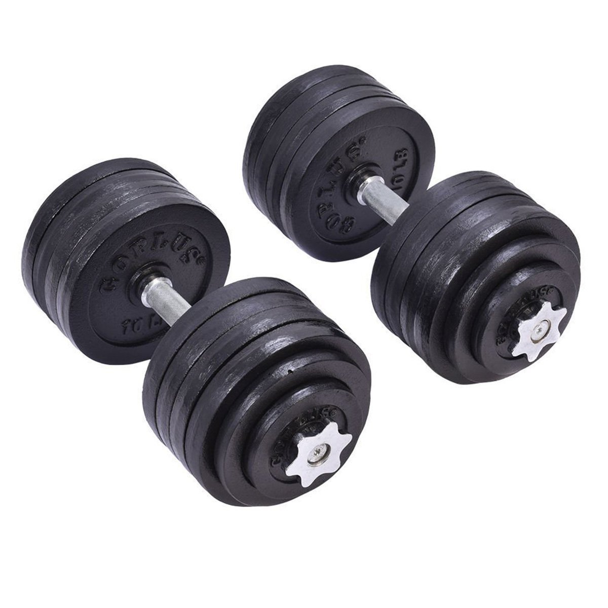 2PC Weight Dumbbell 64 LB Adjustable Cap Gym Barbell Plates Body Fitness Workout