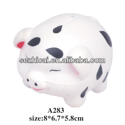 2014 newest varies animal shape PU Foaming squeezable stress ball - PU pig shape stress toy for kids