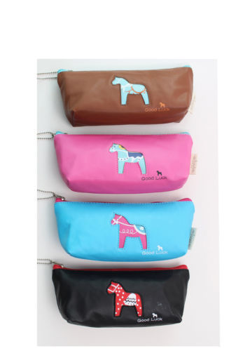 "Cute Pencil BAG 4 Colors Cartoon PU Pancil BAGS ""Good Luck"" Pen Case Cosmetic Cellphone BAG Wallet +Chian Horse 9*4'' New #"