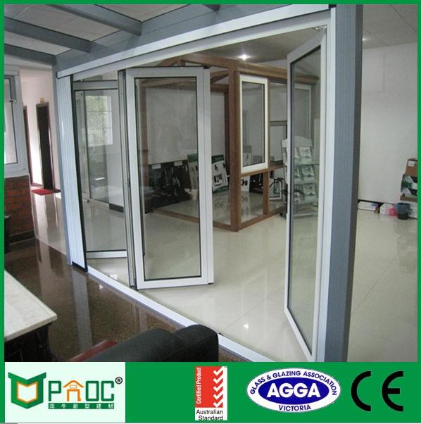 Impermeable terraza doble acristalamiento de aluminio bi puertas plegables de vidrio puertas - Puerta terraza ...