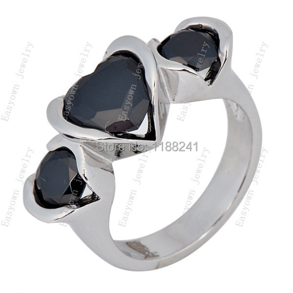 10ps/lot Size 6/7/8/9/10 Women Fashion Jewelry Black Color Rings 10KT White Gold Filled Zircon Stone Ring Wholesale RW0732