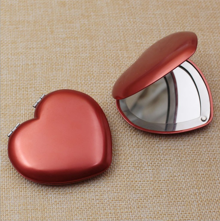 Promotional Foldable Heart Shape Aluminum Makeup Mirror Cosmetic Compact Pocket Mirror