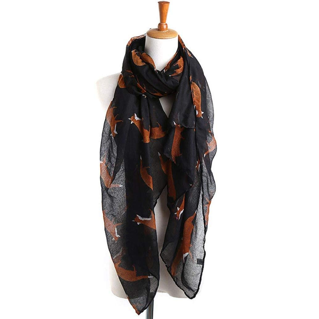 d47de15727ab5 Get Quotations · GBSELL Lady Womens Long Cute Fox Print Scarf Wraps Shawl  Soft Scarves