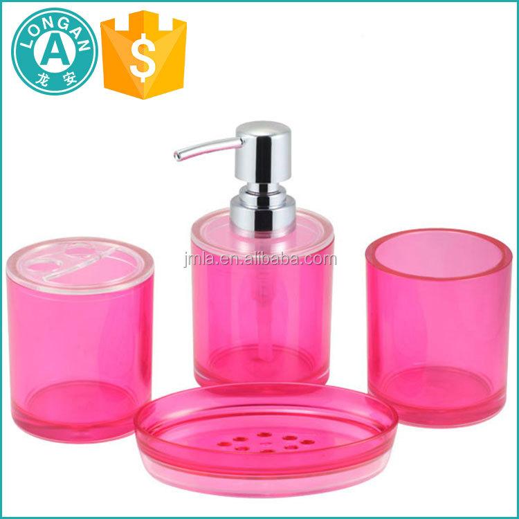 Personnalis plasict acrylique h tel balfour rose salle de - Accessoires salle de bain rose ...