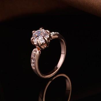 Модные женские корейские Брендовые украшения романтический AAA циркон  обручальное кольцо розовое золото и Платиновое покрытие обручальное be4f23ac851