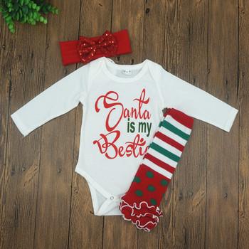 19419f0a2 2017 Newborn Baby Boys Girls Santa is My Bestie Romper+Leg Warmers+Headband  Outfits