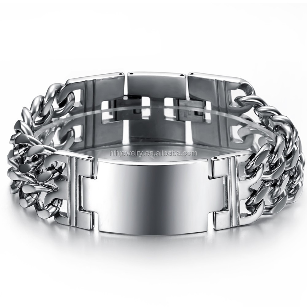 694f2ea46c61c Heavy Curb Chain Mens Bracelet Stainless Steel Wide Men Bracelet Double  Chain Cross Id Bracelet - Buy Double Chain Cross Id Bracelet,Stainless  Steel ...