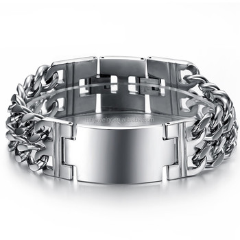 Heavy Curb Chain Mens Bracelet Stainless Steel Wide Men Double Cross Id