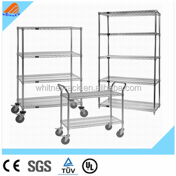 Wire Shelving Systems | Chrome Metal Wire Shelving Rack Stainless Steel Slotted Angle