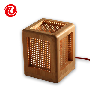 modern fashion oak square cage bedroom decorate kids bedside wood E27 table lamp