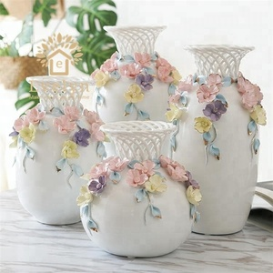 Home garden Chinese decorative ceramic porcelain beautiful hand crafts flower vases