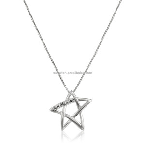 Hot classical manufacturer 925 sterling solid silver wholesale shine like a star pendant box chain necklace jewelry gift