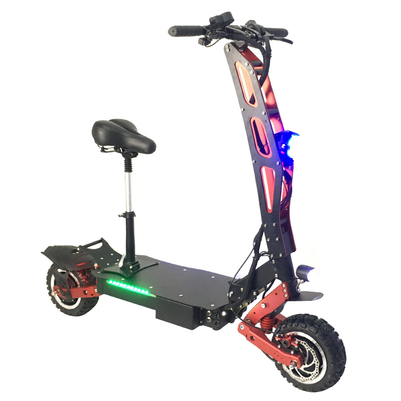 Newest arrival 3200W 60V electric motorcycle with new damping system stand up tricycle electric scooter for adults, Black+red
