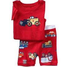 2015 Summer Boys Pajamas Sets Short Sleeve T-Shirts Shorts Pants Sleepwear 100% Cotton Pijama Boy Pyjama Red Vehicle