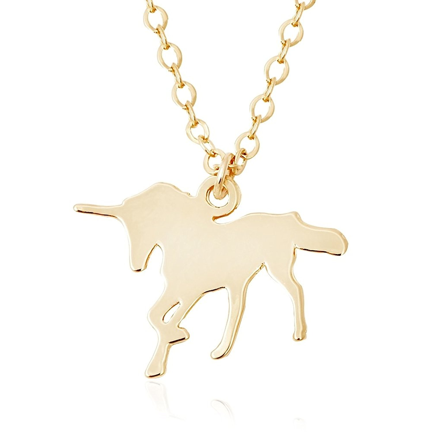 TUSHUO Simple Gold Plated Unicorn Pendant Necklace Best Unicorn Jewelry Gift for Unicorn Lover