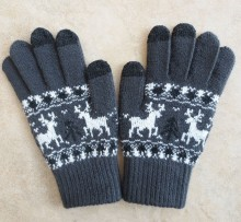 unisex snowflake design touch screen black gloves