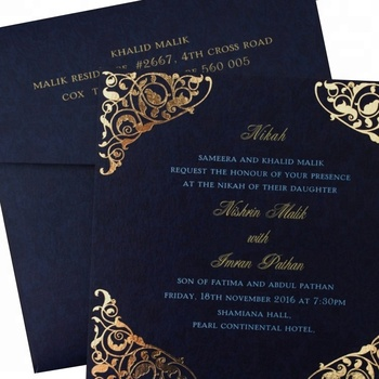 Royal Blue Muslim Wedding Invitation Card Gold Stamping ...