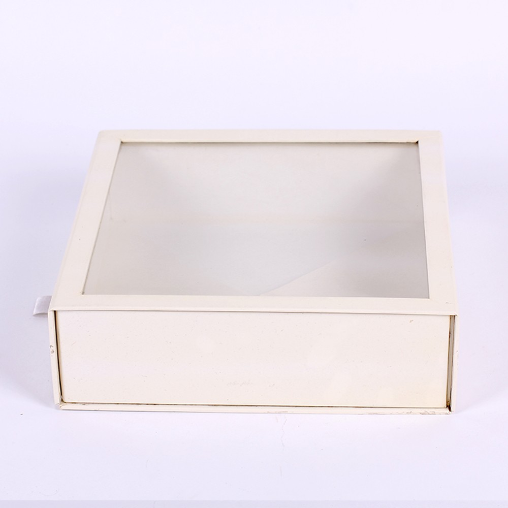 Customized no printing white paper box with PVC window