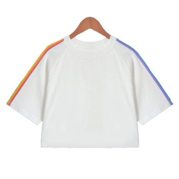 d74780d9c8e White rainbow three quarter sleeve loose crop top women dynamic t shirts