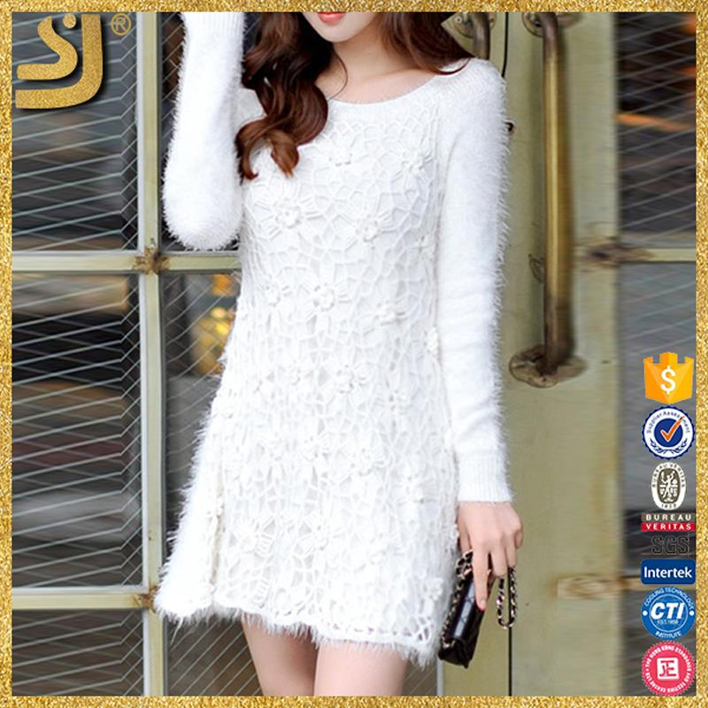 Shangyi Fashion Ladies New Designs White Knit Women Casual Sweater ...