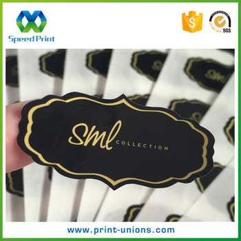 Die cutting custom shape black back cosmetic products adhesive gold foil stickers