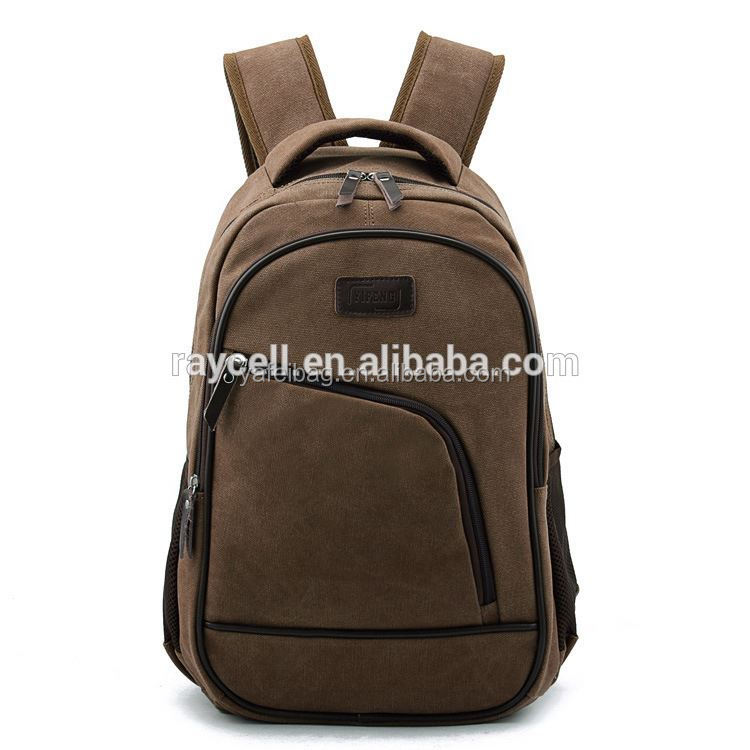 fashion 100% cotton washed canvas backpack with laptop compartment from factory directly