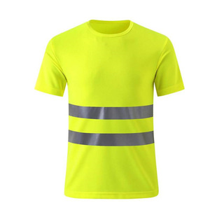 Quick dry Safety t shirts High Visibility Fluorescent Yellow Workwear Short sleeve Reflective Strip Outdoor Work T shirt for men