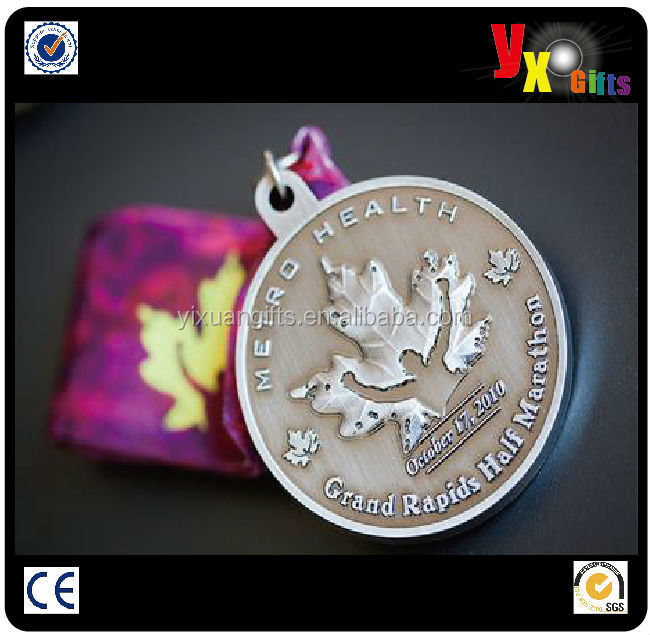 Gold die casting custom medallion with ribbon