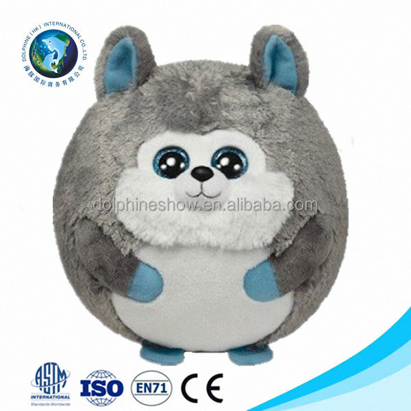 Cheap wholesale promotional cute cartoon custom soft ball stuffed animal big eyes wolf plush toy