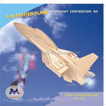 3d F-16 Fighter Plane New Wooden Jigsaw Puzzle Diy Assembled Kids Toys New  - Buy Handcrafted Jigsaw 3d Wooden Puzzle - F-16 Fighter Plane,F-16 Fighter