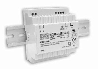 "Mean Well DR-60-24 Power Supply, DIN-Rail, 24 Volt, 2.5 Amp, 60 Watt, 3.1"" x 3.7"" x 2.2"" Size"