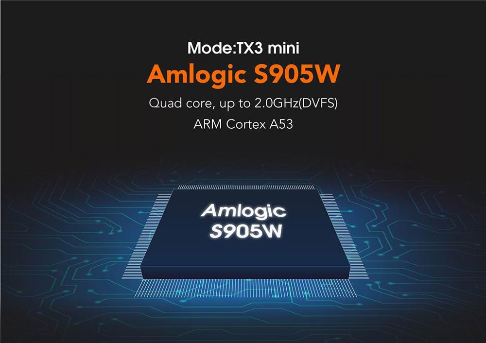 TX3 mini Amlogic S905W Quad Core RAM 1 GB/2 GB ROM 8 GB/16 GB 4 K 2.4g WiFi Android 7.1 TV Box