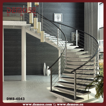 Great Winding Staircase Design Floating White Wood Stairs