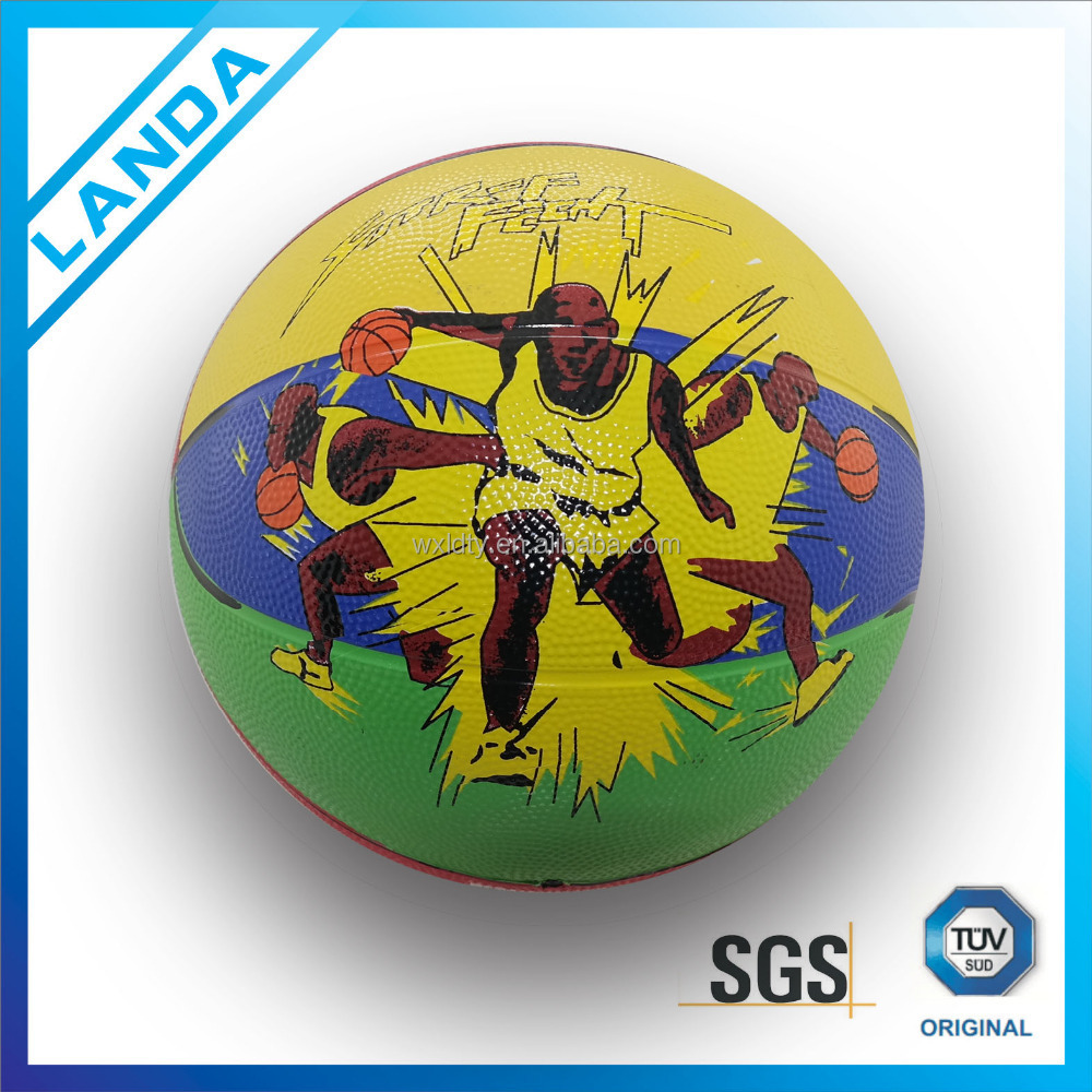 colorful promotional good quality size 7rubber basketball