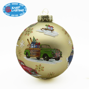High quality decal customized Christmas ornament glass tree ball for gift idea