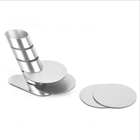 Durable 4pcs round stainless steel coaster set with stand